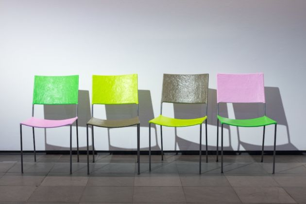 Jonathan Monk, Jonathan Monk presents four chairs and a coat rack by Franz West - courtesy l'artista & Collezione Franz West - photo Maximilian Pramatarov