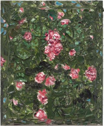 Julian Schnabel, Rose Painting (Near Van Gogh's Grave) IV, 2015, oil, plates, and bondo on wood, 182,88 x 152,4 x 30,48 cm