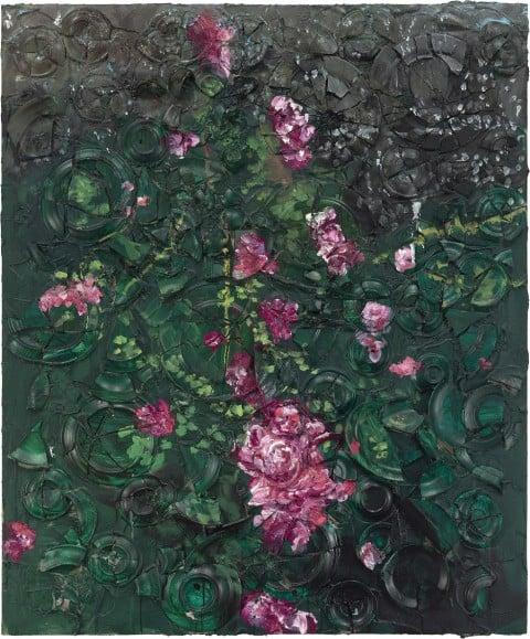 Julian Schnabel, Rose Painting (Near Van Gogh's Grave) V, 2015, oil, plates, and bondo on wood, 182,88 x 152,4 x 30,48 cm