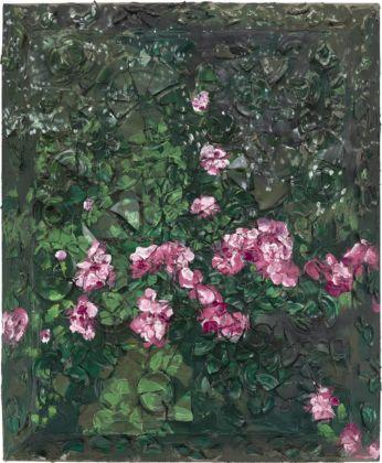 Julian Schnabel, Rose Painting (Near Van Gogh's Grave) VI, 2015, oil, plates, and bondo on wood, 182,88 x 152,4 x 30,48 cm