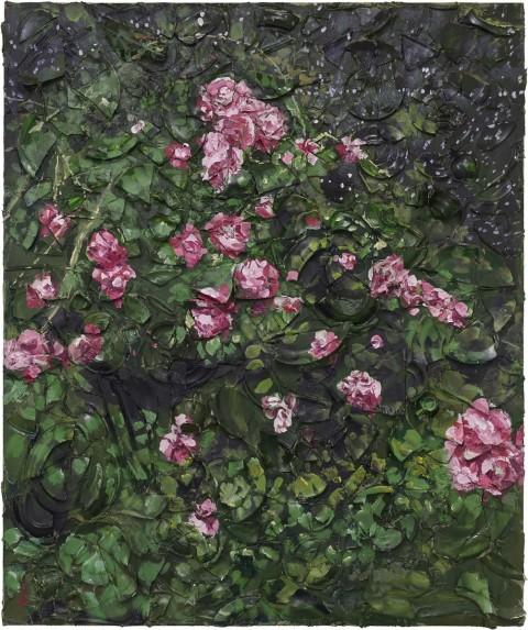 Julian Schnabel, Rose Painting (Near Van Gogh's Grave) VII, 2015, oil, plates, and bondo on wood, 182,88 x 152,4 x 30,48 cm
