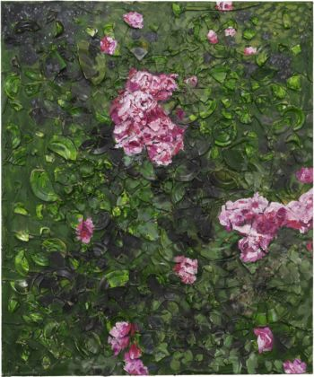 Julian Schnabel, Rose Painting (Near Van Gogh's Grave) VIII, 2015, oil, plates, and bondo on wood, 182,88 x 152,4 x 30,48 cm
