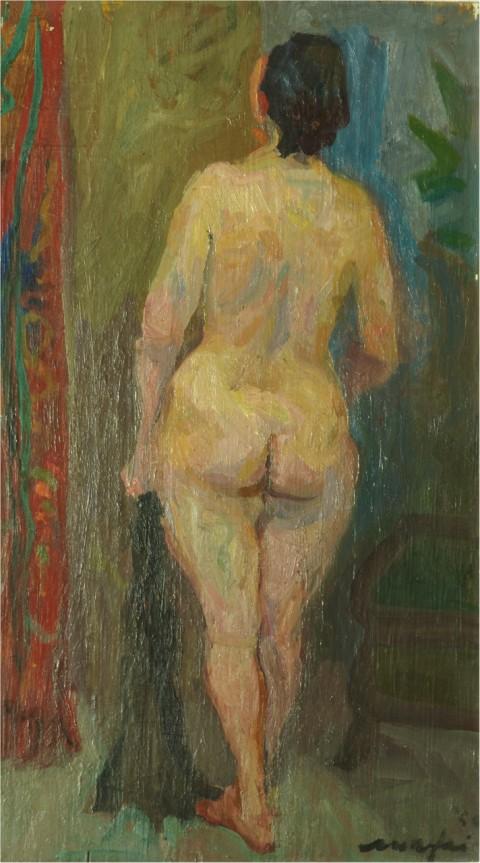 Mario Mafai, Nudino di schiena, 1946 - olio su tavola, cm 50x28