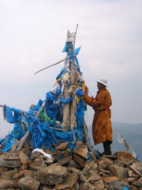 Ovoo, cima della Burkhan Khaldun Mountain, luogo di nascita di Gengis Khan