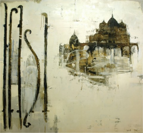 Piero Pizzi Cannella, Roma ferro battuto, 2008 - olio su tela, cm 216x200