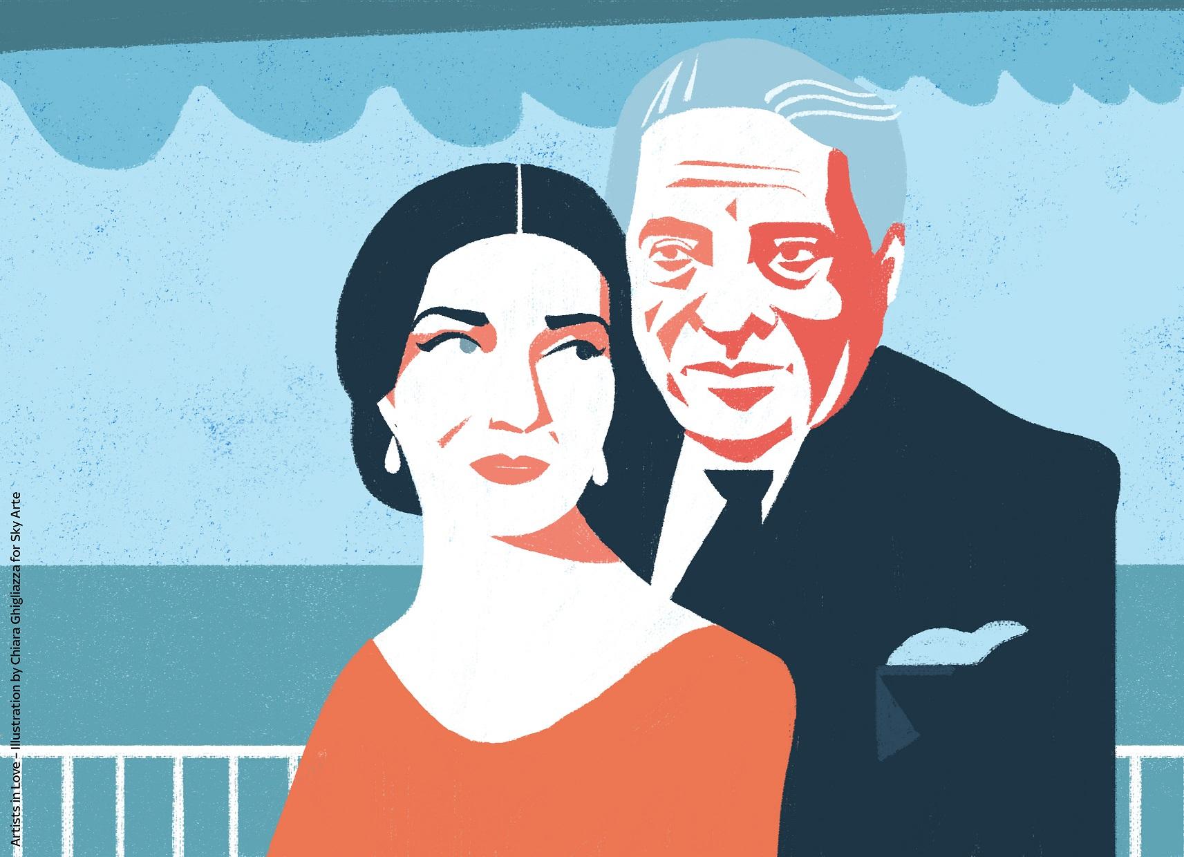 ed8612ef22 Artists in Love – Maria Callas e Aristotele Onassis. Illustrazione di  Chiara Ghigliazza per Sky