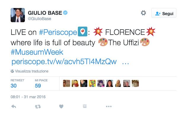 Giulio Base agli Uffizi su Periscope per #MuseumWeek 2016