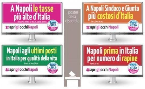 I manifesti del candidato sindaco d Napoli, Gianni Lettieri