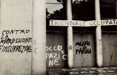 Ingresso della Triennale di Milano durante l'occupazione, maggio 1968