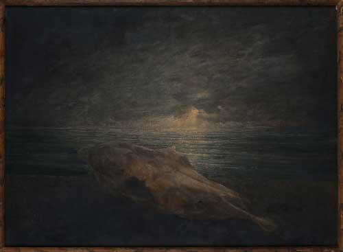 Jean-Pierre Velly, Bucranio, 1986 - olio su tavola - Collezione Mariani Lucio