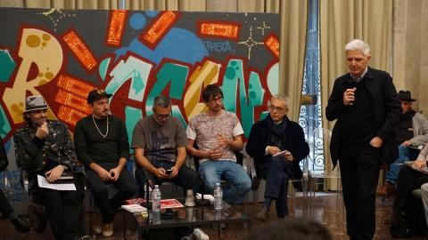 Massimo Bray e alcuni protagonisti della scena street italiana, durante un talk presso l'Istituto Treccani