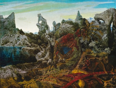 Max Ernst, Paysage avec lac et chimères, c. 1940 - Paul G. Allen Family Collection