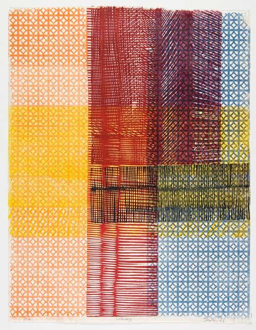 Ninì Santoro, Shiraz, 1965 - xilografia e stampa a rilievo da profilati industriali a colori, mm 593×457
