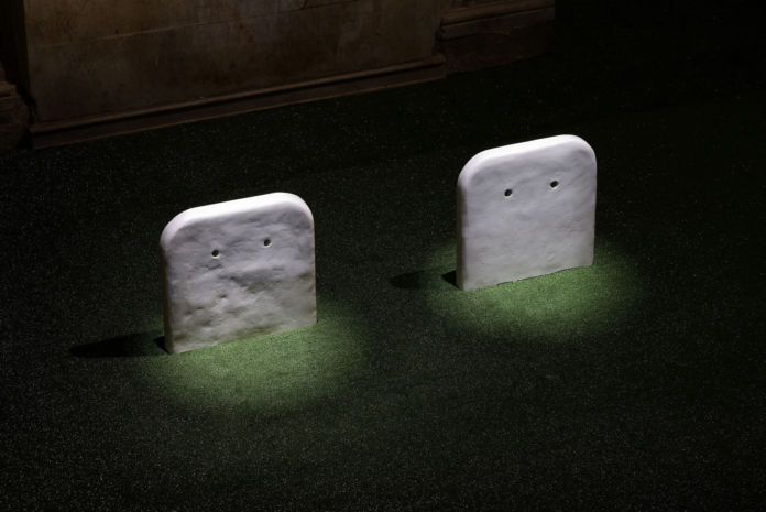 Sturtevant – Gober Partially Buried Sinks – installation view at Sant'Andrea de Scaphis, Roma 2016