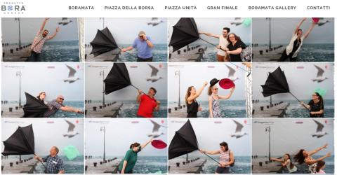 Triestini e turisti fotografati nel vento a BoraMata – Trieste, giugno 2015