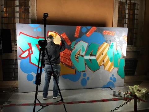 Talk e live painting, presso l'Istituto Treccani, a Roma
