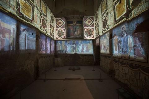Video mapping della decorazione parietale della cappella di Teodoto - Santa Maria Antiqua tra Roma e Bisanzio - photo Claudia Pescatori