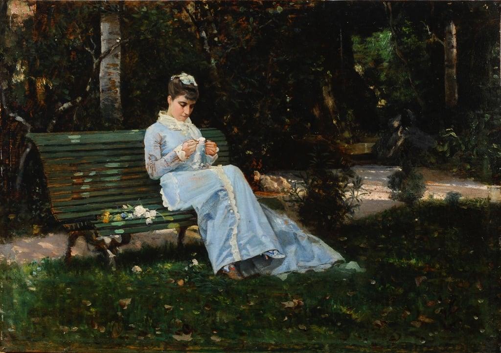 Cristiano Banti, Ritratto di Alaide Banti in giardino, 1875 ca. - coll. privata