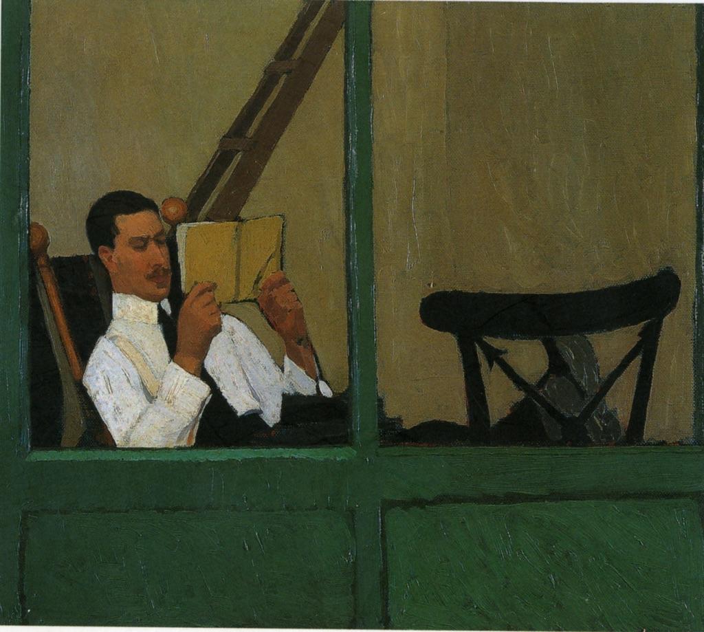 Oscar Ghiglia, Sforni in veranda che legge, 1914 - coll. privata - photo Antonio Quattrone