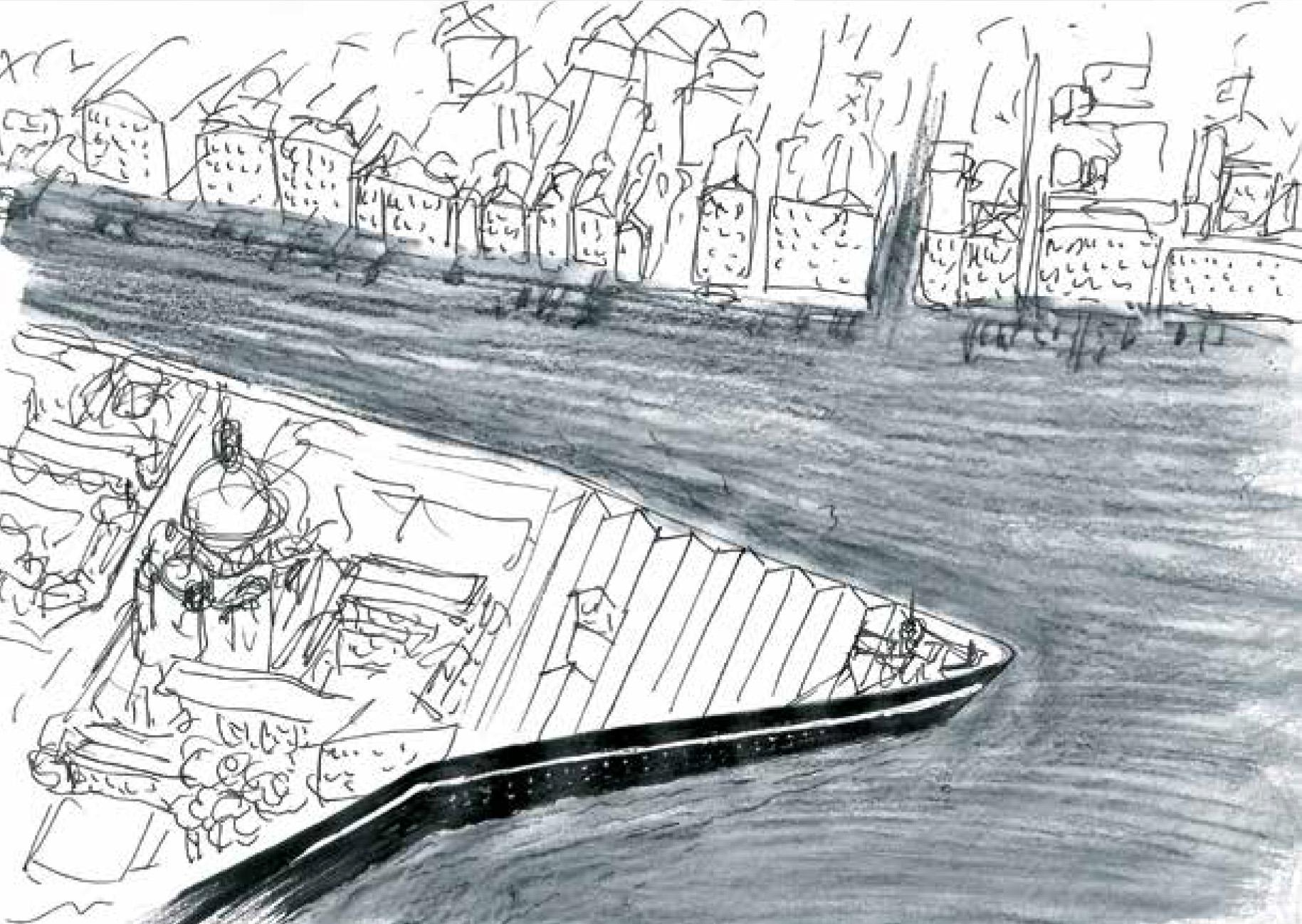 Riccardo Miotto, Dogana's Prow – disegno contenuto nel libro Venice. A document