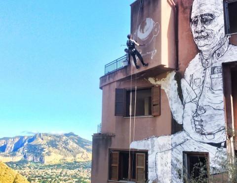 Uno dei murales a Pizzo Sella Art Village, Palermo