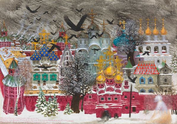 Vasilij Sitnikov, Self-portrait with crows by the Kremlin, 1970 – courtesy Christie's