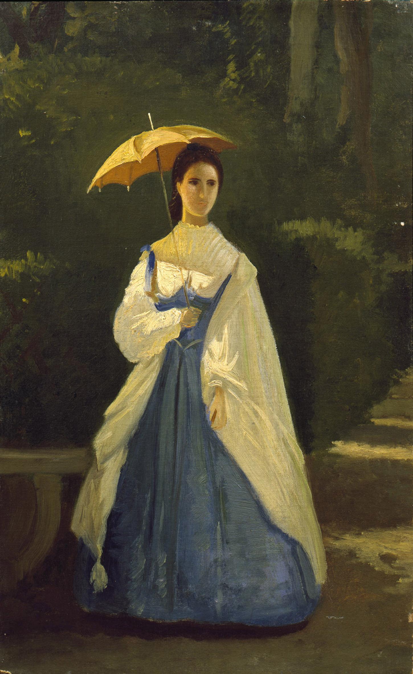 Vito D'Ancona, Signora in giardino, 1861 - coll. privata