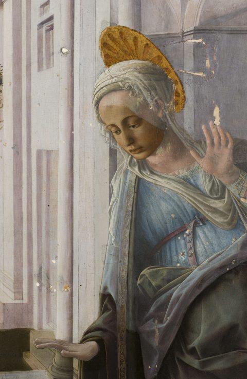 Pala Martelli, particolare della Madonna prima del restauro