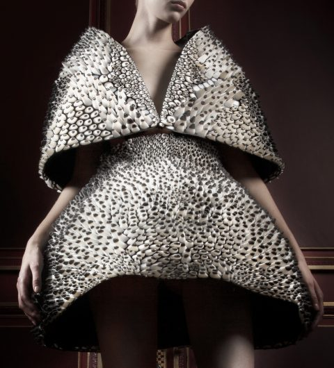 Anthazoa cape and skirt, Voltage Collection (detail), 2013, designed by Iris van Herpen and Neri Oxman, printed by Stratasys
