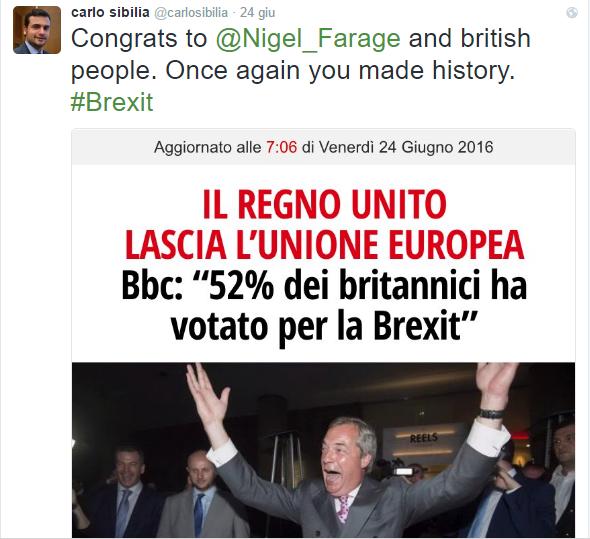 Il parlamentare Carlo Sibilia del M5S si complimenta via Twitter con Nigel Farage per lo storico risultato
