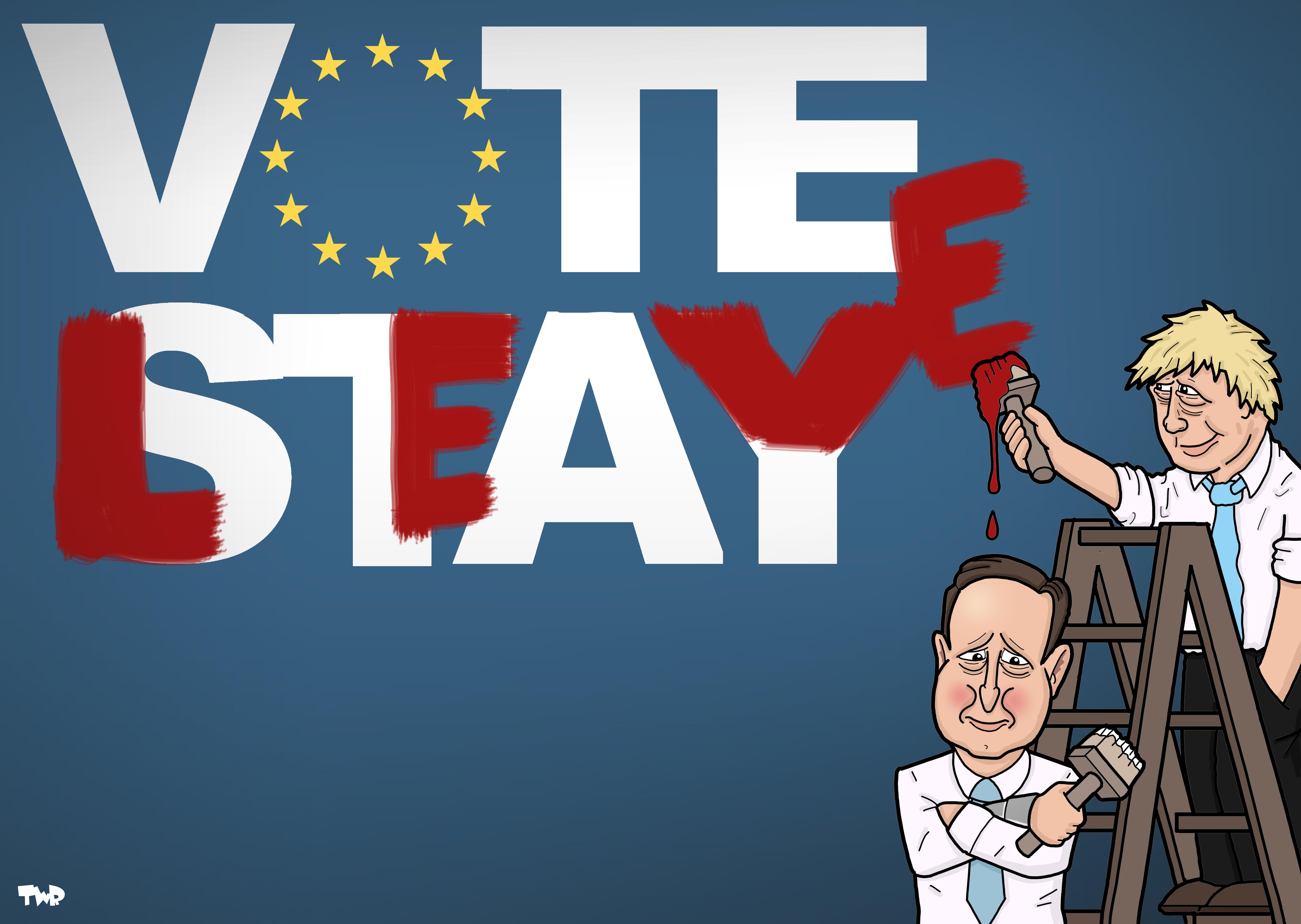 David Cameron e Boris Johnson nel cartoon di Tjeerd Royaards