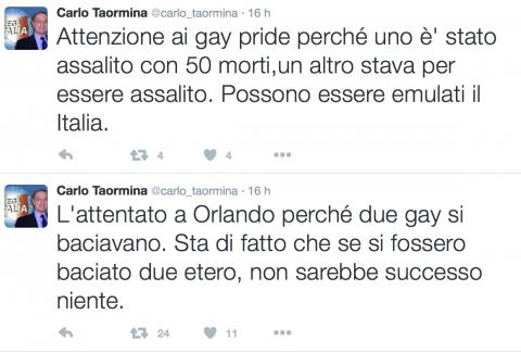 I tweet dell'Avvocato Taormina sulla strage di Orlando