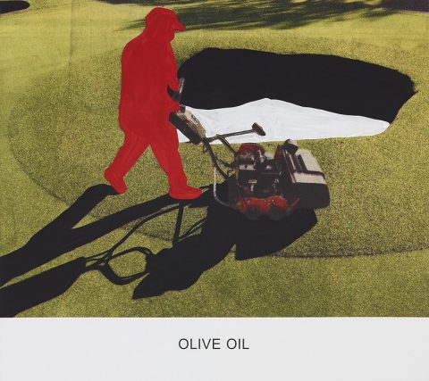 John Baldessari, Olive Oil, 2015, Varnished inkjet print on canvas with acrylic paint 137.2 x 153.7 x 4 cm