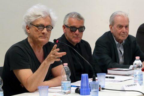 """Nanni Balestrini – """"Tutto"""" in una volta - FM Centro per l'Arte Contemporanea, Milano 2016 - photo Virginia Garra - Franco Berardi Bifo, Marco Scotini, Nanni Balestrini"""