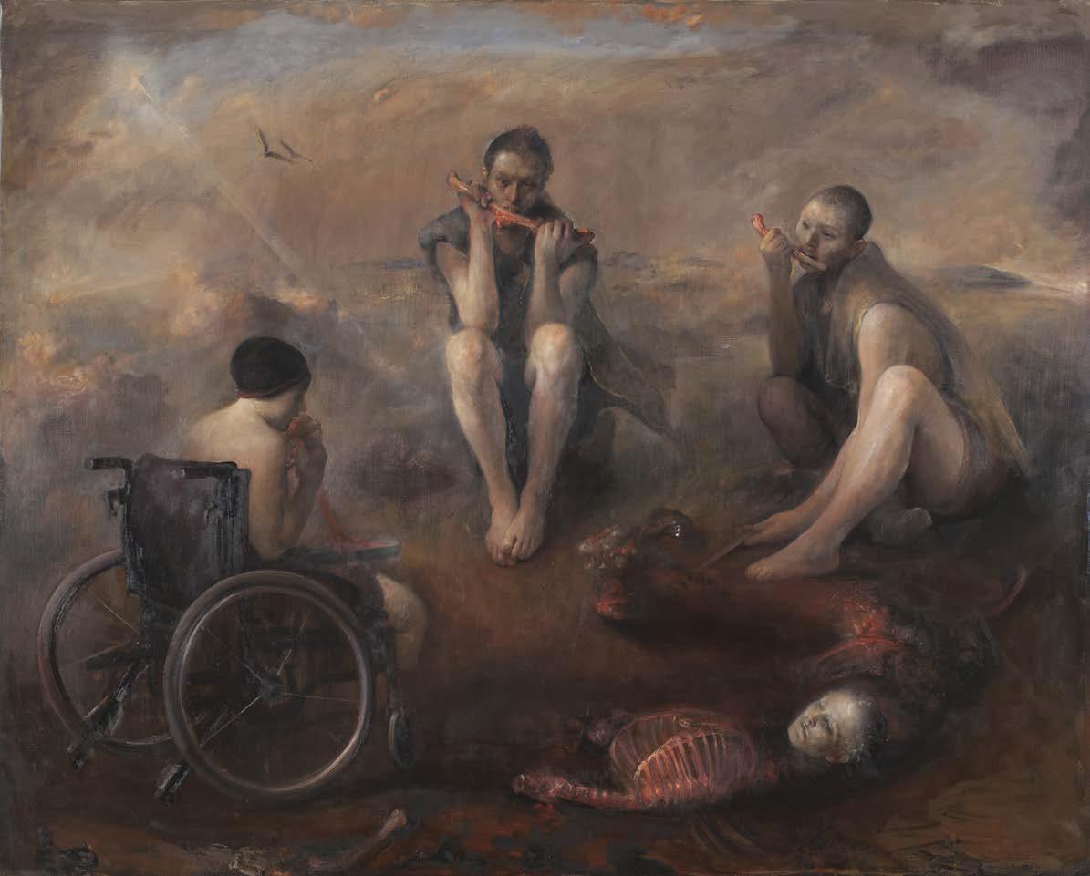 Odd Nerdrum davanti a uno dei suoi dipinti