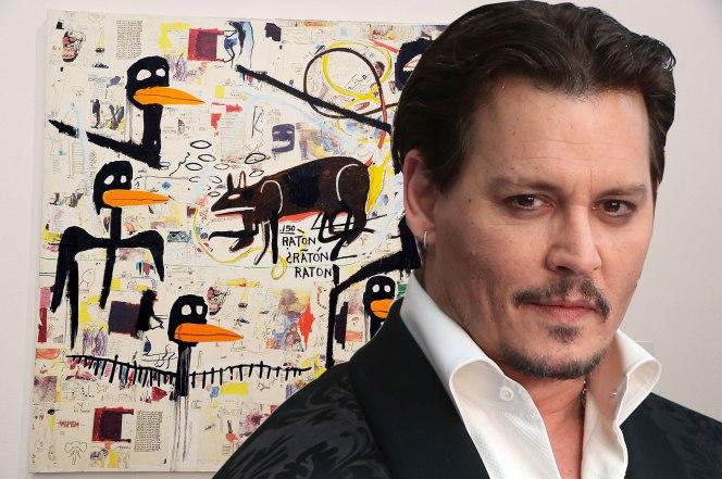 l'attore Johnny Depp con un'opera di Basquiat