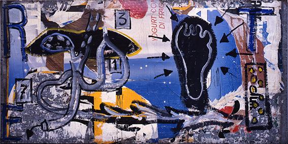 Mimmo Rotella La lezione di anatomia, 1987 Sovrapittura su lamiera zincata / on metal sheet 150 x 300 cm / 59.06 x 118.11 in. © Fondazione Mimmo Rotella Photo: Paolo Vandrasch, Milano