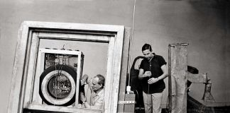 "Billy Kluver, left, and Robert Rauschenberg in Rauschenberg's studio working on ""Oracle"" in 1965"