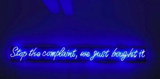 Paola Pivi, Stop the complaint, we just bought it, neon mounted on wood, in two parts, 31.1 x 381 x 8.2 cm, 2008, ed. 1 di 3 + 1 p.a. @ Christie's