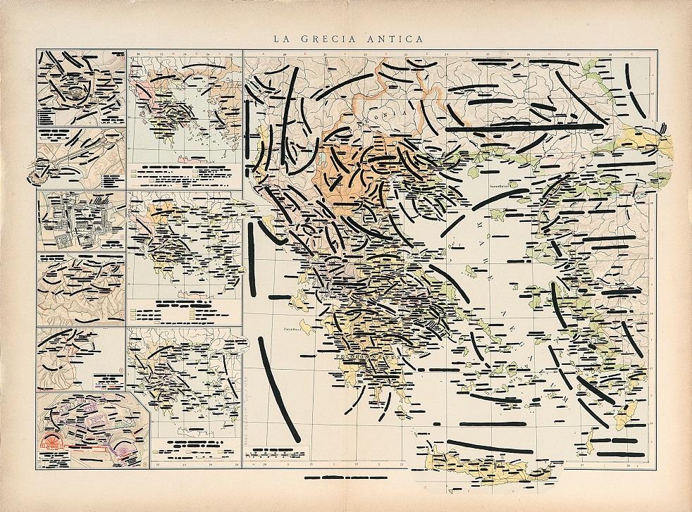 Emilio Isgrò, Mare aegeum, 1970, 42x56 cm, china su carta geografica intelata in box di legno e plexiglass, Collezione privata