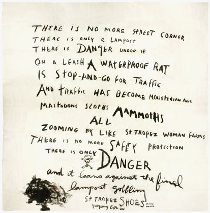 Gregory Corso «There is No More Street Corner...» Poème manuscrit inédit, 200 x 200 cm, 1960 © DR photo: © Archives Jean-Jacques Lebel