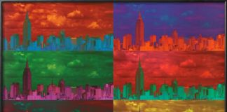 Lo skyline di New York in versione pop, proposto da AllPosters