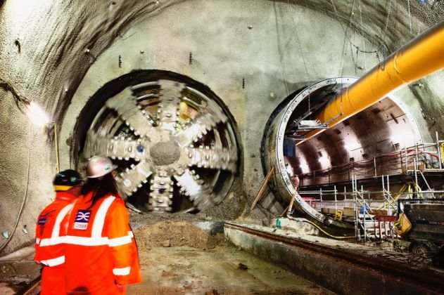 Ove Arup, Crossrail Tunnel Boring Machine Jessica breaks through into Stepney Green cavern, Photographer Robby Whitfield, February 2014 © Crossrail Ltd