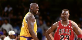 Shaquille O'Neal e Michael Jordan in campo
