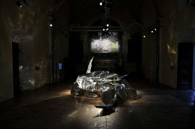 Stefano Cagol, 697 madri - installation view at Antica Chiesa di San Barnaba, Bondo 2016
