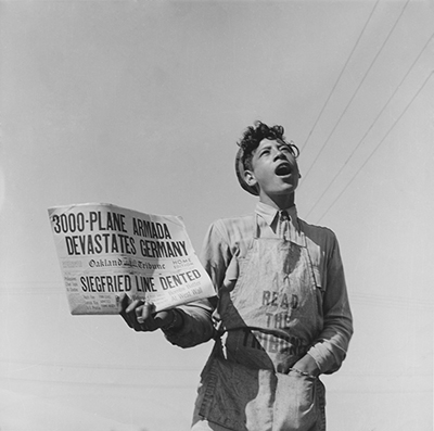 Dorothea Lange, Newspaper Boy, California, 1944, vintage print