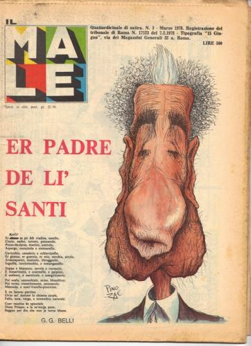 Il Male, n° 3. Marzo 1978 - in copertina una caricatura di Aldo Moro, disegnata da Pino Zac