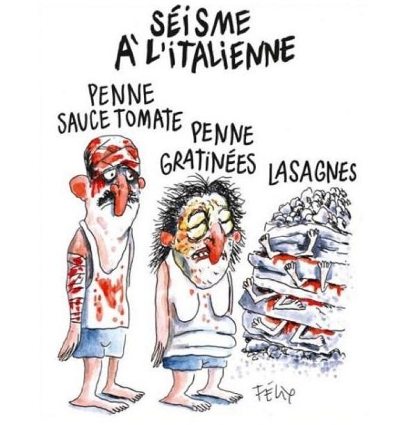 La prima vignetta di Charlie Hebdo sul terremoto del Centro Italia