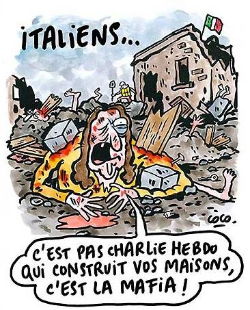 La seconda vignetta di Charlie Hebdo sul terremoto in Italia
