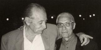 Alessandro Mendini e Ettore Sottsass jr, Venezia 1993. Photo Johanna Grawunder